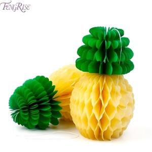 Ananas de papier tissu de FENGRISE Honeycomb Table hawaïenne Hanging Décoration Birthday Party Favors Supplies événement