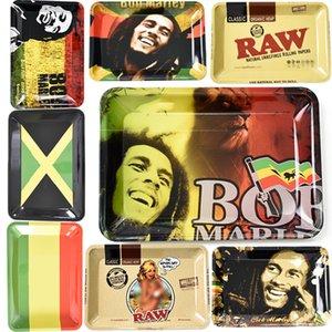 Bandeja de Rolling prima de metal Bob Marley RAW 180 * 125mm Rodillo fumadores herramientas Accesorios cigarrillo de tabaco rollo bandejas de mano