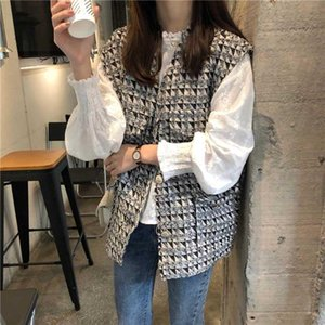 Autumn Top Clothes Women Tweed Vest Jacket + Long Sleeve dress Women's Small Fragrant Wind Sets Girl Student Tops