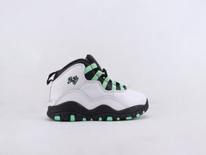 New Seattle Kids 10s White Black Kelly Green Basketball Shoes True Red Boys Girls Chicago Tinker Huaraches Light Sneakers