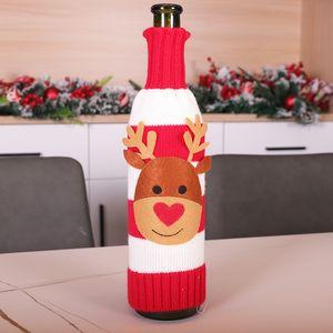 Cubierta de botella de tejer de Navidad Santa Snowman Elk Champagne Cubierta de botella de vino Feliz Navidad Punto Botella Suéter Decoración DHA2058