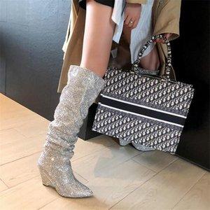 Prova Perfetto donne a punta le dita dei piedi di Bling Bling sopra il ginocchio con strass stivali lunghi di cristallo alta Heel Boots lusso tallone sottile