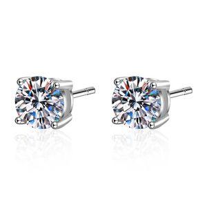 S925 Pure Silber Ohrringe Mode Simple 0.3ct 1ct Mozambik Diamant Ohrstecker Weibliche Kleine reines frisches Zubehör