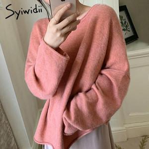 Syiwidii suéter de las mujeres caen 2020 O-Cuello casual ropa de invierno de Corea moda de manga larga de punto rosa japonesa del estiramiento de Nueva Tops