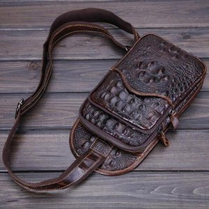 New Top Quality Men Genuine Leather Real Shoulder Messenger Bag First Layer Cowhide Crocodile Style Travel Sling Chest Day Pack