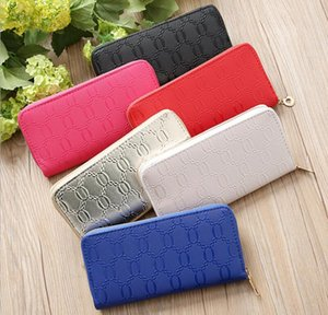 ale simple casual PU embossed solid color long multi-digit wallet Holders bag creative coin purse clutch bag mobile phone bag 7R2U C1D7