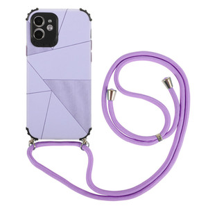 Geometric Lanyard designers phone cases coque iphone 12 case 11 Pro Max XS Max XR X 7 8 plus Strap Cord Silicone Shockproof Cover