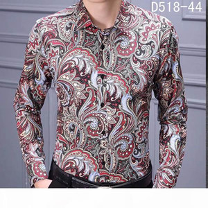 NEW Fashion Designer Slim Fit Shirts Men Black Gold Floral Print Mens Dress Shirts Long Sleeved Business Casual Shirts Males Clothes