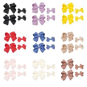 Wholesale solid Color Barrettes sets Ribbon Hair Bows with Clips baby Hair Grips for sisters Hair Accessories fast shipping