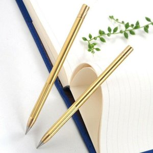 Retro Pirinç Inkless Kalem Saf Pirinç Metal No mürekkepli kalem Bakır Hediye Stylus Sonsuz Kalem Açık Seyahat 1PCS