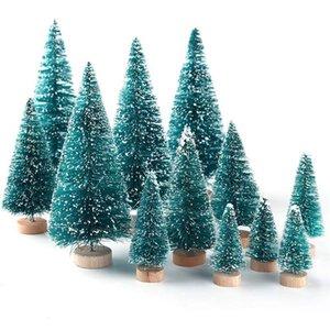 Искусственные матовые сизальные рождественские елки бутылка для бутылок с деревянной основой DIY ремесел Мини сосны рождественские дома столик Top Decor DHE2427