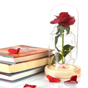 الساخنة رومانسية الأبدية زهرة غطاء زجاجي الديكور الزهور الغطاء الزجاجي محفوظة روز الزفاف ديكور عيد الحب T2I51642