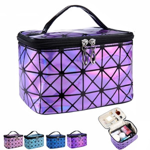 Functional Cosmetic Women Fashion PU Leather Travel Make Up Necessaries Organizer Zipper Makeup Case Pouch Toiletry Kit Bag Q1104