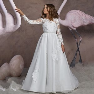 Stunning Long Sleeves Flower Girls Dresses For Weddings Appliques Lace Tulle Floor Length First Communion Dresses Junior Bridesmaid Dresses