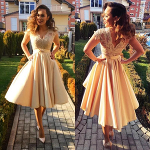 V Neck Lace Short Sleeves Prom Dresses with Sash Ruched High Low Graduation Party Gowns Zipper Back Homecoming Bride Vestidos