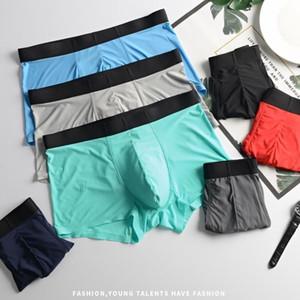 4pcs / Los Mens Männer Eisseide Nahtlose dünne weiche sexy Shorts Unterwäsche Boxer kilot männlichen Unterhosen der Männer Männer cueca Boxer homme Y200415