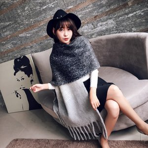Mingjiebihuo Korean new fashion long scarf shawl female autumn and winter new color mixed wild warm thick fringed scarf 201006