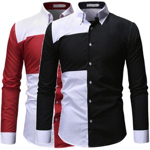 2021 New Mens Designer Shirts Fashion Long Sleeve Contrast Color Panelled Mens Shirts Single Breasted Man Clothing