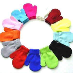 Bebek Çocuk Örme Eldiven Şeker Renk Eldivenler Erkek Kız Kış Sıcak Eldiveni Akrilik Anti-Kaos Kapmak Örgü Eldiven Bebek Mittens 2020