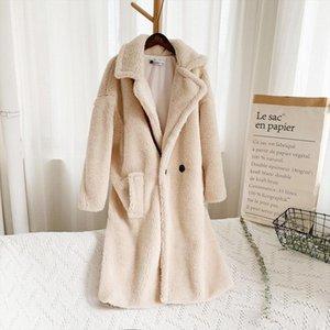 Women Teddy Bear Jacket Faux Fur Coat Winter Loose Solid Medium Long Windbreaker Lamb Coat Casaco Inverno Feminino 2B16