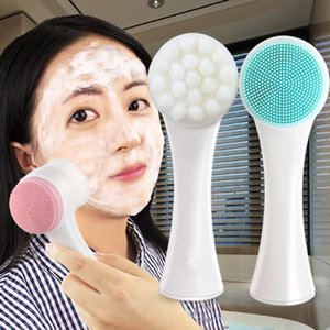 Two-sided Silicone Face Scrub Clean Facial Cleanser Brush Skin Care Washing Brush Massager Pore Cleaner Wash Face Makeup Brushes JXW801