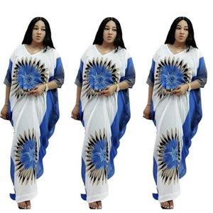 Африканские платья для женщин DASHIKI V-шеи Batwing рукав леди одежда длинная африка платье женщина одежда Vestido de Mujer