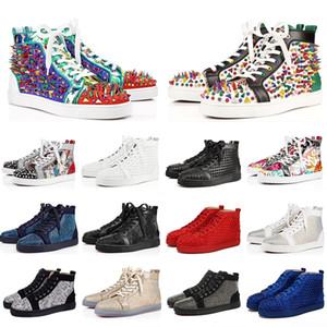 36-47 de Luxo 2019 ACE Designer Marca Red Bottoms Studded Spikes Flats Shoes Homens Mulheres Moda corte alto amantes Multicolor partido Sapatos casuais