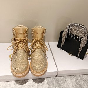 Designer Womens Boots Luxury Khaki Round head Rhinestone Platform Martin Boots High Quality With Box Size 34-40
