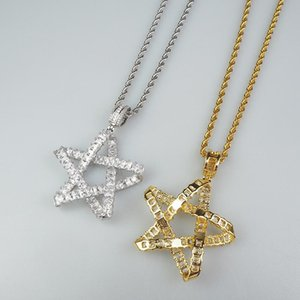 Five-pointed Star Cross Line Modeling Two-color Glittering Stone Mosaic Pendant Hip Hop Trend Single Necklace