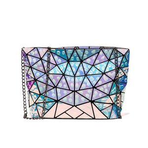 Women Holographic Shoulder Bag Geometric Diamond Handbag Drop Water Plaid Small Chain Crossbody Clutch Bag for Teenage