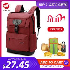 Tigernu Fashion Women Red USB Recharging School Backpack for Teenagers Girls Anti theft Female Male Mochila 15.6 Laptop Bag Q1113