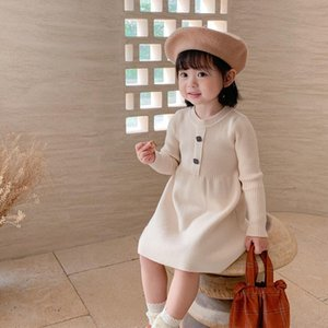 Wholesale Newest INS Little Kids Girls Sweater Dresses Front Buttons Quality Designer Autumn Long Sleeve Children Clothes for 1-7T