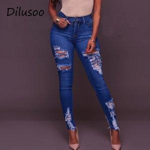 Dilusoo женщины высокие талии джинсы брюки упругие отверстия разорванные джинсы 4 сезон тощий карандаш брюки женщины повседневные джинсы брюки LJ200810