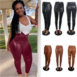Tasarımcılar Kadınlar PU Pantolon Moda Seksi Tayt Bayan Sonbahar ve kış rahat düz renk deri pantolon s-4XL Giyim 3 renk SATIŞ F92904