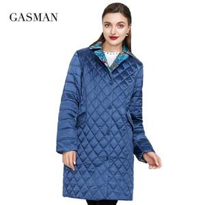 Kadınlar bahar sıcak parka düğmeleri için Gasman Windproof uzun ince pamuklu ceketler ceket Kadın yağmurluk sonbahar ceket 201.026 aşağı balıkçı yaka