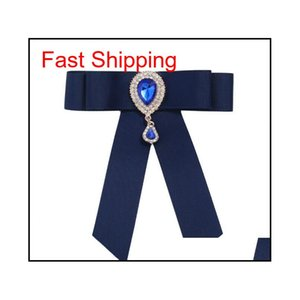 Heißer verkauf neue großhandel - pin broschen förderung ribbon trendy unisex diamant schmuck broche bogen brosche hemd qylwvn nana_shop