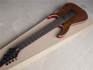 Frete Grátis Custom Brown Guitarra Elétrica, 7 Cordas Guitarra, Basswood Body com Burl Maple Feader, HH Pickups, Branco Encadernação, Botão Bloqueio