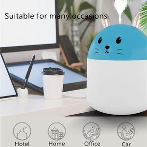 Lucky Cat Lindo conejo humidificador USB Humidificador Air Humidificador Ultrasónico Mini Mist Maker con luces LED Purificador de aire de oficina portátil V6