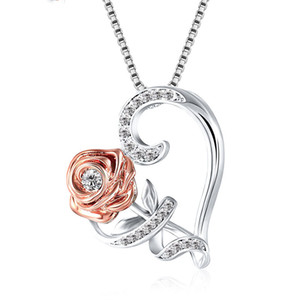 Fashion Rose Heart Pendant Valentines Designer Necklace Womens Jewelry Gifts Women Zircon Allloy Necklace Valentines Day Gift VTKY2329