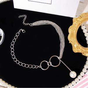 New Bohemia Vintage Многослойная Pearl ожерелье серебра способа цвета цепи Boho Простой Choker ожерелья ювелирных изделий