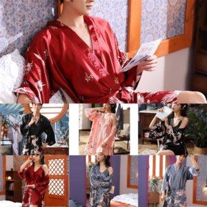 0SJ Frauen Gestreifter Pyjamas Set Ieces Mode Sexy Lose Liebhaber Bademantel Satin Seidenblume Slick Bademantel Camis Shorts Set für Freeze Ice LDWP
