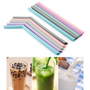 Kitchen Accessory Reusable Silicone Drinking Straws Foldable Flexible Straw with Cleaning Brushes Kids Party Supplies Bar Tools