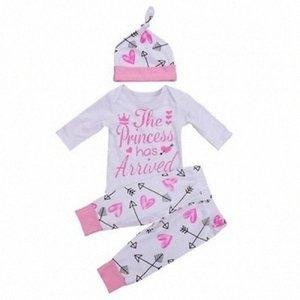US Neugeborene Kleinkind-Baby-Kleidung Liebesbrief gedruckt Spielanzug-Overall + Pants Ballon- Bat + Bow Tie Stirnband Outfits Set 0-24M YpEz #