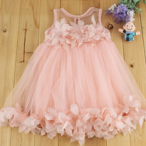 2020 verano nueva y versátil dulce niña vestido de malla chaleco de tres pinzas Qun la falda de los niños del chaleco dimensiones del pétalo vestido de la princesa de los niños sk