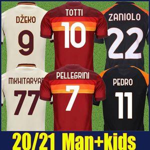 2020 roma futbol forması erkekler çocuklar kiti pellegrini de rossi totti futbol forması perotti dzeko zaniolo futbol gömlek camiseta de roma 20/21