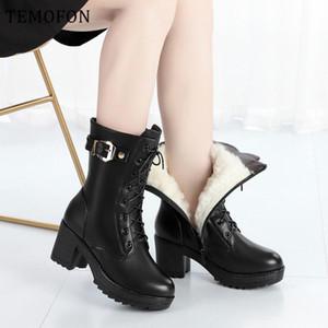 TEMOFON women's winter boots fur high heels shoes Round Toe black 2020 leather mid calf boots women zipper plush shoes HVT1471