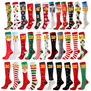 Christmas Compression High Quality Stockings Women Men Pressure Socks Compress Sports Pattern Running Knee High Nylon Run Socks