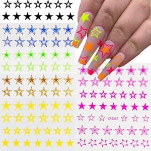 Nouvelle 50pcs Fluorescence creux étoile Nail art autocollant étoile à cinq branches Nail Art Décorations de bricolage Accessoires ongles