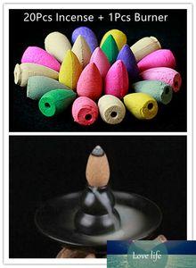 20Pcs Mix Backflow Incense Cones With Incense Burner Colorful Fragrance Triple Scent Potpourri Flow Backwards Indoor Spices