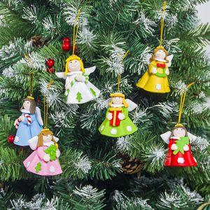 Pendente Angel Natale morbido Argilla Angel Doll dell'albero di Natale Rosa Blu Skirt Girl Hanging Decoration